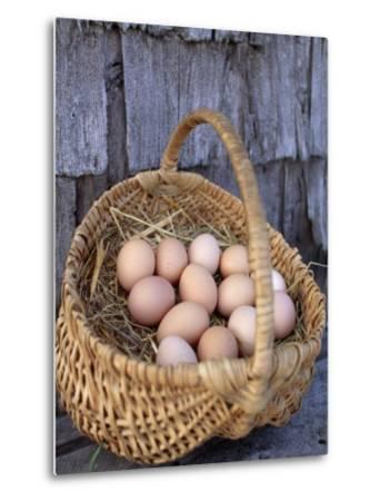 Basket of Brown Eggs-Michael Melford-Metal Print