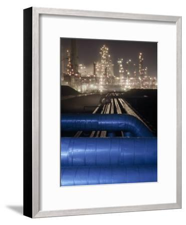 Night View of the Lights of an Oil Refinery-Michael Melford-Framed Photographic Print