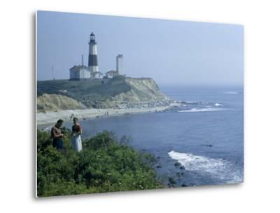 People Stand on Point across Bay from Montauk Point Light-B^ Anthony Stewart-Metal Print