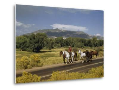 Rancher Leads His Horses on Country Road, Mountains Line Horizon-Justin Locke-Metal Print