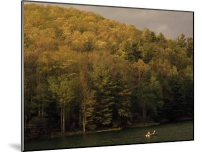 Outdoorsmen Enjoying a Day in a Small Boat on Watoga Lake-Raymond Gehman-Mounted Photographic Print
