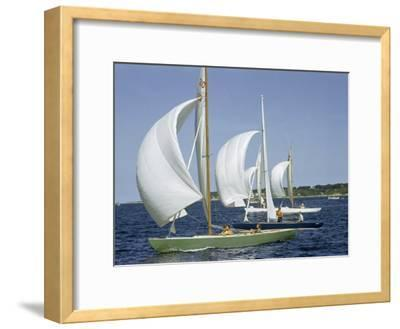 Sailboats Cross a Race Course Starting Line with Wind-Filled Sails-Robert Sisson-Framed Photographic Print