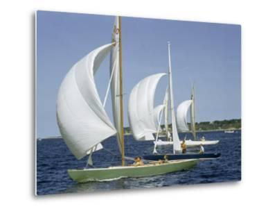 Sailboats Cross a Race Course Starting Line with Wind-Filled Sails-Robert Sisson-Metal Print