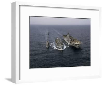 Navy Ships Refuel at Sea, Last Ship Acts as Guard for Men Overboard-Joseph Baylor Roberts-Framed Photographic Print