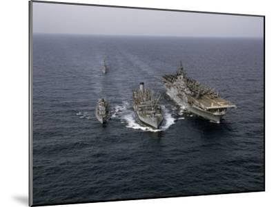 Navy Ships Refuel at Sea, Last Ship Acts as Guard for Men Overboard-Joseph Baylor Roberts-Mounted Photographic Print