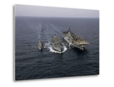 Navy Ships Refuel at Sea, Last Ship Acts as Guard for Men Overboard-Joseph Baylor Roberts-Metal Print