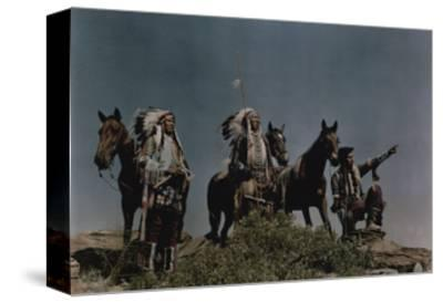 Three American Indians on the Crow Reservation-Edwin L^ Wisherd-Stretched Canvas Print