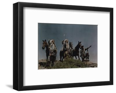 Three American Indians on the Crow Reservation-Edwin L^ Wisherd-Framed Photographic Print