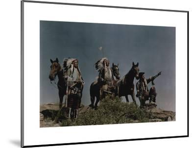 Three American Indians on the Crow Reservation-Edwin L^ Wisherd-Mounted Photographic Print