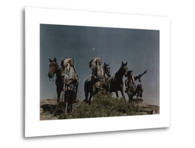 Three American Indians on the Crow Reservation-Edwin L^ Wisherd-Metal Print