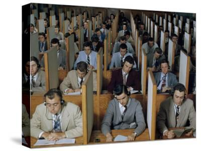 Male Students Study Languages in a Large Listening Lab--Stretched Canvas Print