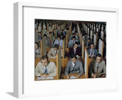 Male Students Study Languages in a Large Listening Lab--Framed Photographic Print