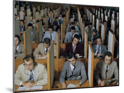 Male Students Study Languages in a Large Listening Lab--Mounted Photographic Print