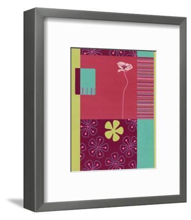 Pink Poppy Patchwork--Framed Art Print