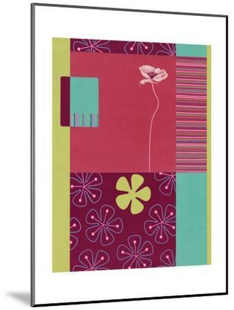 Pink Poppy Patchwork--Mounted Art Print