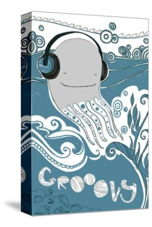 Octopus with Headphones--Stretched Canvas Print