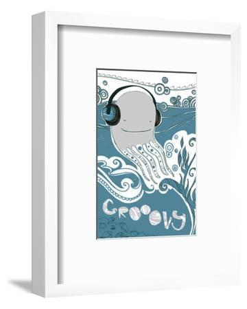 Octopus with Headphones--Framed Art Print