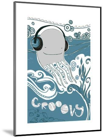 Octopus with Headphones--Mounted Art Print
