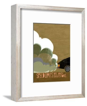 Speeding Car--Framed Art Print