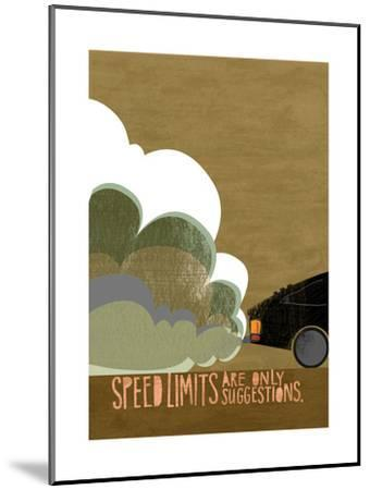Speeding Car--Mounted Art Print