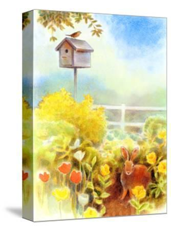 Birdhouse and Bunny in Garden--Stretched Canvas Print