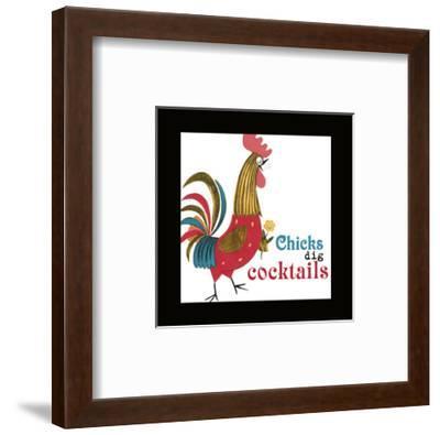 Rooster with Flower--Framed Art Print