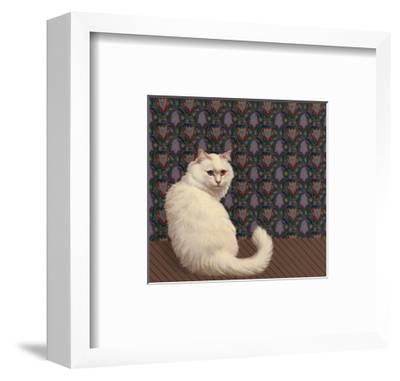 Long Haired White Cat--Framed Art Print