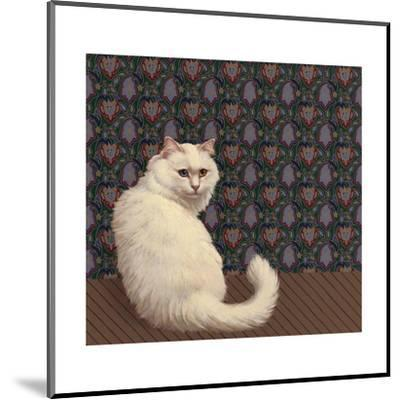 Long Haired White Cat--Mounted Art Print