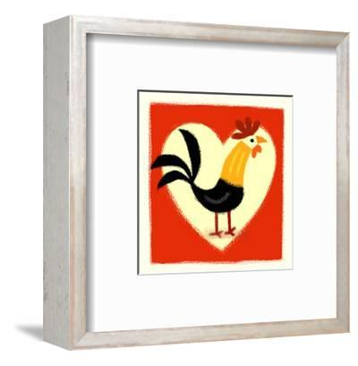 Rooster in Front of Heart--Framed Art Print