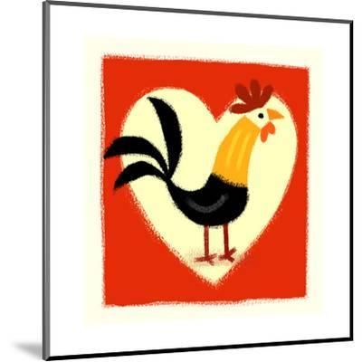 Rooster in Front of Heart--Mounted Art Print
