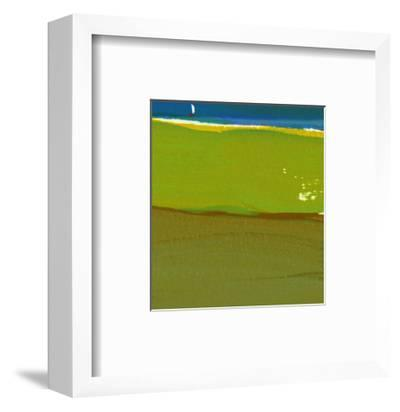 Green Abstract with Sailboat--Framed Art Print