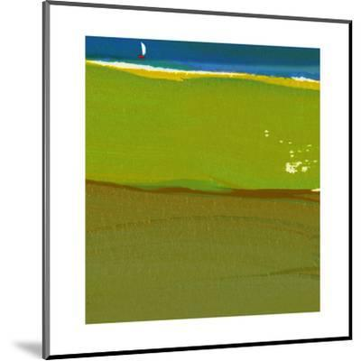 Green Abstract with Sailboat--Mounted Art Print