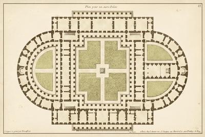 Antique Garden Plan I-Jean Deneufforge-Stretched Canvas Print