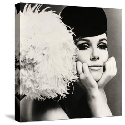 Nicole de la Marge in a Peter Shepherd Velvet Cap, 1965-John French-Stretched Canvas Print