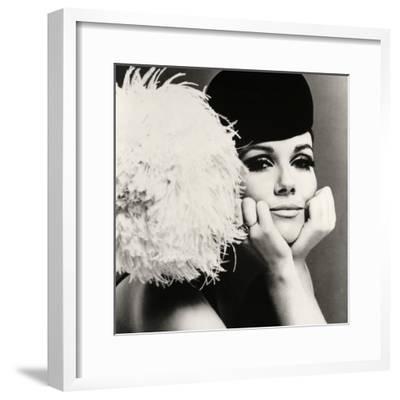 Nicole de la Marge in a Peter Shepherd Velvet Cap, 1965-John French-Framed Giclee Print