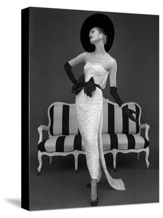 Model in John Cavanagh's Strapless Evening Gown, Spring 1957-John French-Stretched Canvas Print