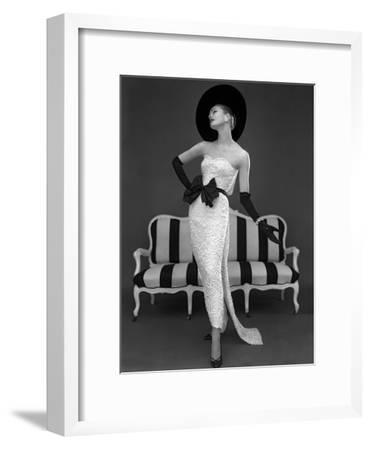 Model in John Cavanagh's Strapless Evening Gown, Spring 1957-John French-Framed Giclee Print