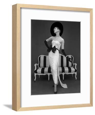 Model in John Cavanagh's Strapless Evening Gown, Spring 1957-John French-Framed Giclee Print