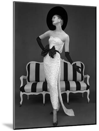 Model in John Cavanagh's Strapless Evening Gown, Spring 1957-John French-Mounted Giclee Print