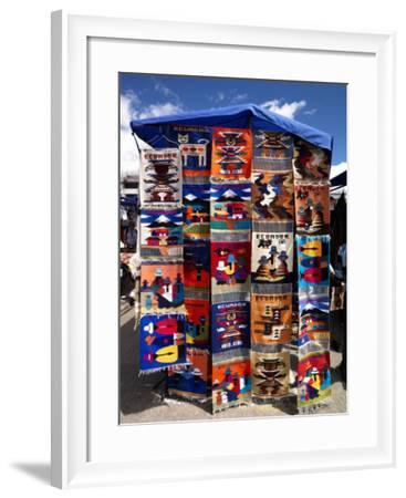 Pillow Covers for Sale at a Handicraft Market, Otavalo, Imbabura Province, Ecuador--Framed Photographic Print