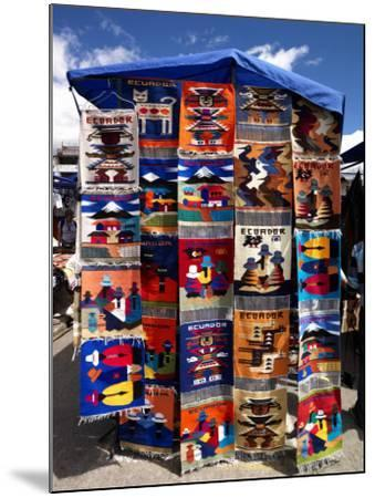 Pillow Covers for Sale at a Handicraft Market, Otavalo, Imbabura Province, Ecuador--Mounted Photographic Print