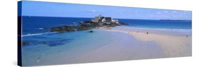 Beach with a Fort in the Background, St-Malo, Brittany, France--Stretched Canvas Print