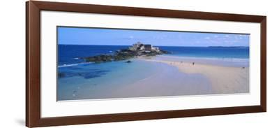 Beach with a Fort in the Background, St-Malo, Brittany, France--Framed Photographic Print