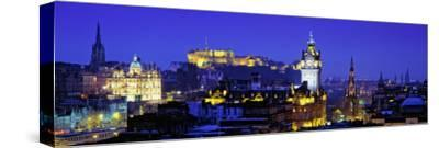 Buildings Lit Up at Night with a Castle in the Background, Edinburgh Castle, Edinburgh, Scotland--Stretched Canvas Print
