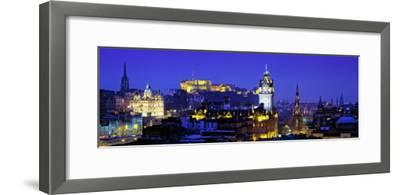 Buildings Lit Up at Night with a Castle in the Background, Edinburgh Castle, Edinburgh, Scotland--Framed Photographic Print