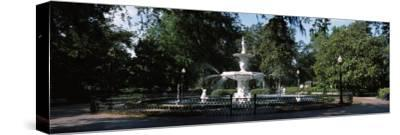 Fountain in a Park, Forsyth Park, Savannah, Chatham County, Georgia, USA--Stretched Canvas Print