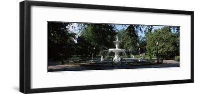 Fountain in a Park, Forsyth Park, Savannah, Chatham County, Georgia, USA--Framed Photographic Print