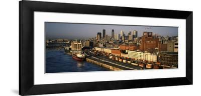 Harbor with the City Skyline, Montreal, Quebec, Canada--Framed Photographic Print