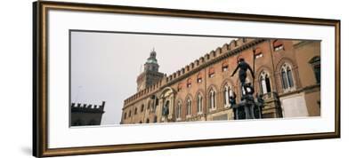 Statue in Front of Palace, Fountain of Neptune, Palazzo D'Accursio, Piazza Maggiore, Bologna, Italy--Framed Photographic Print