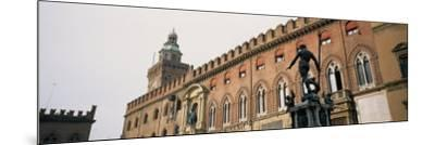 Statue in Front of Palace, Fountain of Neptune, Palazzo D'Accursio, Piazza Maggiore, Bologna, Italy--Mounted Photographic Print